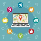 GPS tracking order flat design concept