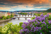 Spectacular spring panorama with famous Prague city, Czech Republic, Europe