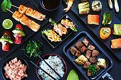 Gourmet asian dinner concept.