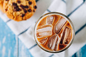 Iced latte with chocolate chip cookies