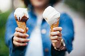 Ice cream cone in hand