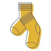 yellow watercolor silhouette of pair of socks