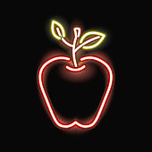Neon apple silhouette icon