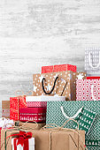 Christmas Gift Boxes on Wooden Background