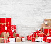 Christmas Gift Boxes on White Wooden Background