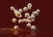 Gold nanoparticles illustration