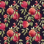 Pomegranate fruit vector pattern