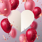Vector Stock holiday illustration for 14 February, womans day, wedding invitation any other Love cards. White paper cut heart with flying balloons and heart shape confetti. Valentines Day template