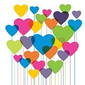 Heart shape in colorful balloons. Valentine's day.