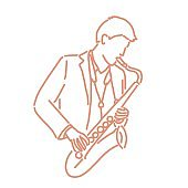 jazz musician with an instrument. line drawing. hand drawn. vector illustration. Cartoon.