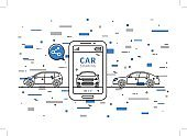 Car sharing vector illustration with colorful elements