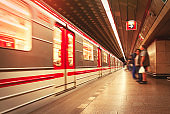 Subway platform and train in Prague