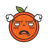 Emoji - furious orange. Isolated vector
