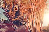 woman autumn car