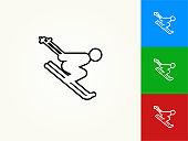 Skiing Downhill Black Stroke Linear Icon