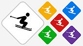 Skiing Color Diamond Vector Icon