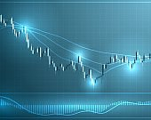 Forex stock chart. Data candle graph.