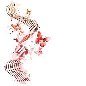 Colorful stave with music notes and butterflies