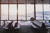 modern airport terminal with big window