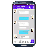 Mobile phone with chat interface for communication . Vector design , infographics.