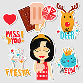 Set of stickers, pins, patches and badges vector illustration