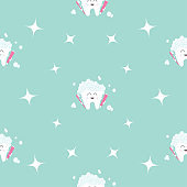 Seamless Pattern Brush Paste Tooth health. Sparkle star. Cute funny cartoon smiling character. Oral dental hygiene. Children teeth care. Baby texture. Flat design. Blue background