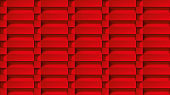 Volume realistic texture, cubes steps, red 3d geometric pattern, design vector background