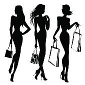 Black and white retro fashion model silhouette. Shopping girl with packs hand drawn vector illustration