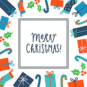 Merry Christmas. Greeting card template. Vector