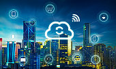Smart city and cloud computing, wireless communication network, abstract image visual, internet of things .