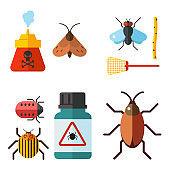 Home pest insect vector control expert vermin exterminator service pest insect thrips equipment flat icons illustration