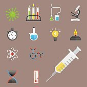 Lab symbols test medical laboratory scientific biology design molecule microscope concept and biotechnology science chemistry icons vector illustration