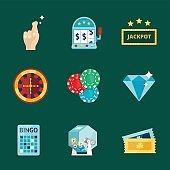 Casino game poker gambler symbols blackjack cards money winning roulette joker vector illustration