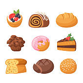 Cookie cakes tasty snack delicious chocolate homemade pastry biscuit sweet dessert bakery food vector illustration