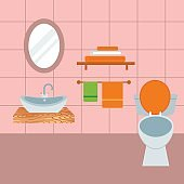 Bathroom icons process water savings symbols hygiene washing cleaning beauty vector illustration