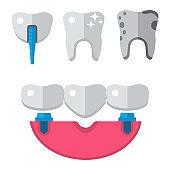 Dentist medical vector tools icons health care medicine instrument stomatology dental implantation clinic illustration
