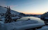 Dawn on a mountain lake