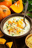 Cheese soup with pumpkin
