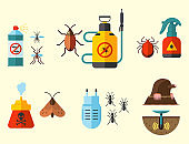 Home pest control expert vermin exterminator service insect thrips equipment flat icons vector illustration