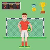 Football soccer icons player trophy competition game score win play flat design sport vector illustration
