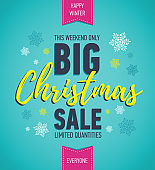 Colorful Christmas sale poster. Big sale. Holiday discount. Winter seasonal banner. Holiday banner. Shopping poster.