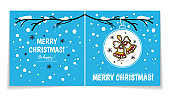 Double sided holiday card with Christmas balls on snowy branch. Illustration with gingerbread bells. Winter background