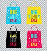 Advertising shopping bags. Big winter, summer, holiday, black friday sale. Vector illustration on transparent background