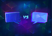 Versus card. VS horizontal banner. Vector illustration.