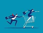 Business teamwork. Concept business market and investment vector illustration. Achievement, Teamwork, Shopping.