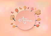 Autumn handwritten lettering with  decoration. Vector illustration.