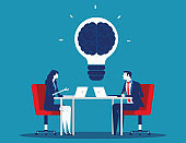 Business team with brainstorming. Concept business vector illustration. Flat character cartoon design style.
