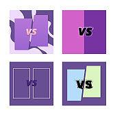 Set of versus card. Vertical illustration.