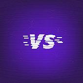 Versus screen. Glitch chromatic aberration effect. Vector illustration.