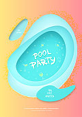 Pool party flyer. Vector illustration.